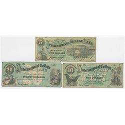 Bryant & Stratton's International College Bank, 1865-1866, Issued College Currency Obsolete Note Tri