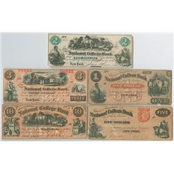 Bryant & Stratton's National College Bank, 1860-1865, Issued College Currency Obsolete Note Quintet.