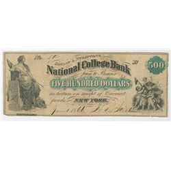 Bryant & Stratton's National College Bank, 1866, $500 Issued College Currency Obsolete Note.