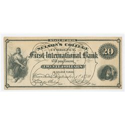 Nelson's College, First international Bank, 1870 College Currency Note