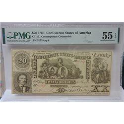 Confederate States of America, $20, 1861, CT-20 Contemporary Counterfeit.