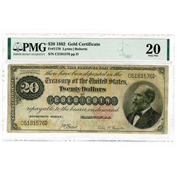 U.S. Gold Certificate, $20, 1882, Fr#1178, Lyons | Roberts Sigs.
