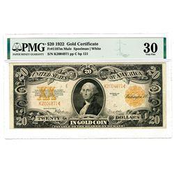 U.S. Gold Certificate, $20, 1922, Fr#1187m Mule, Speelman | White Sigs.
