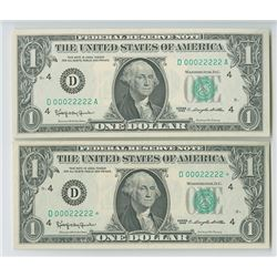 U.S. FRN, $1, Series 1963 Fancy Matching Serial Numbers.