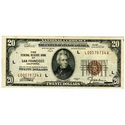 Federal Reserve Bank of San Francisco, Series of 1929, $20.