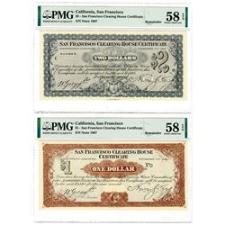 San Francisco Clearing House Certificates, 1907 Depression Scrip Specimen Duo.