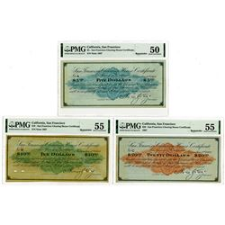 San Francisco Clearing House Certificates, 1907 Depression Scrip Specimen Trio.