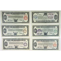 MI. City of Hamtramck, 1933-1934 Depression Scrip Sextet, All with Serial Number 77.