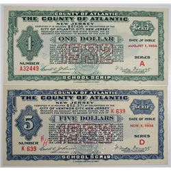 County of Atlantic, 1934 I/C Depression Scrip Pair.