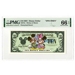 Disney Dollars, Mickey & Minnie - Disneyland Resort, Series 2001, $10 Specimen Banknote Rarity.