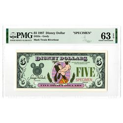 Disney Dollars, Goofy - Mark Twain Riverboat, Series 1987, $5 Specimen Banknote Rarity.