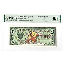 Disney Dollars, Goofy - Parade | Millennium Series 2000, $5 Specimen Banknote Rarity.