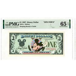 Disney Dollars, Mickey - Sleeping Beauty's Castle, Series 1987, $1 Specimen Banknote Rarity.