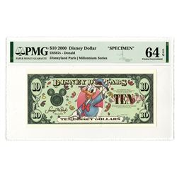Disney Dollars, Donald - Disneyland Paris | Millennium Series 2000, $10 Specimen Banknote Rarity.