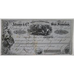 "Adams & Co. Express & Banking Office, 1854 Issued in ""Yreka"" Gold Rush Era Bill of Exchange"