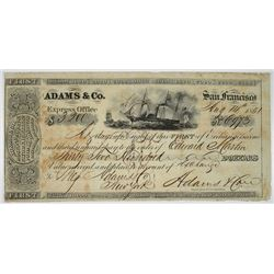 Adams & Co. Express Office, 1851 Gold Rush Era Bill of Exchange