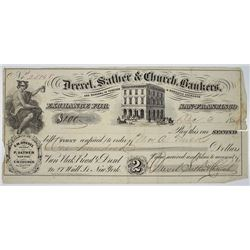 Drexel, Sather & Church, Bankers, 1855 Gold Rush Era Bill of Exchange