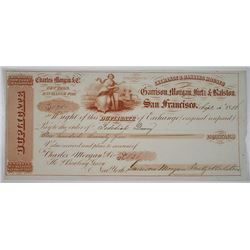 Exchange & Banking Houses of Garrison, Morgan, Fretz & Ralston, 1856 Gold Rush Era Bill of Exchange