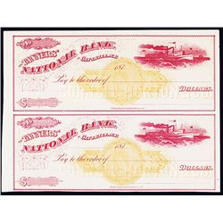 Tanners' National Bank of Catskill, NY, 1870's U/U Uncut Pair of Checks with Imprinted Revenues.
