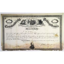 Commonwealth of Pennsylvania 1873 War Damages Certificate Signed by Medal of Honor Recipient
