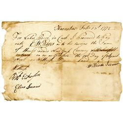 """1772 Promissory Note from Haverstraw, NY, Payable in """"New York Currency""""."""