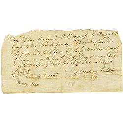 """Abraham Relan 1785 Promissory Note """"New York Currency"""","""