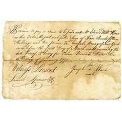 "Joseph Ward 1771 Promissory Note ""Lawful Money of New York""."