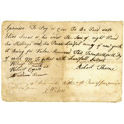 """Robert Thorne 1771 Promissory Note from Haverstraw, NY, Payable in """"Lawful money of New York""""."""