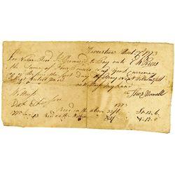 """Thomas Morrell 1773 Promissory Note from Haverstraw, NY, """"New York Money""""."""