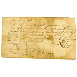 """Thomas Ward 1768 Promissory Note from Cortlandt Manor, NY, Payable in """"Current Lawful Money of New Y"""