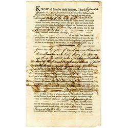 Samuel Wallis 1767 Issued Pennsylvania Province Land Deed