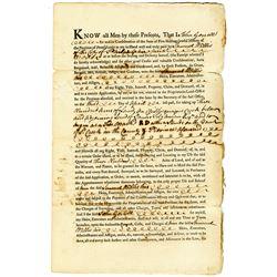 Samuel Wallis 1770 Issued Pennsylvania Province Land Deed
