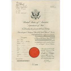 U.S. Visa or Passport, 1913 for Young Man to Visit Berne, Switzerland.