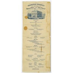 Inaugural Banquet of the New Hall of the Board of Trade in Chicago Silk Menu, 1865