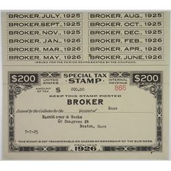 United States Internal Revenue Special Tax Stamp, 1926 for Broker, Issued to Hornblower & Weeks.