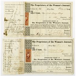 Proprietors of the Woman's Journal 1870 Issued Pair of Stock Certificates from the Samuel May family