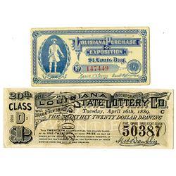Louisiana Related Lottery Tickets and Expo Tickets. 1889-1904. Pair.