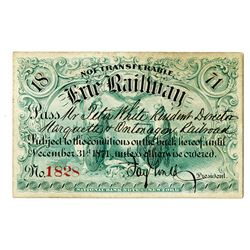 Erie Railway Company 1871 Railroad Pass Signed by Jay Gould as President with Imprinted Revenue on b