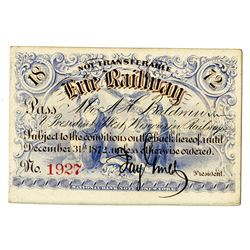 Erie Railway Company 1872 Railroad Pass Signed by Jay Gould as President with Imprinted Revenue on b
