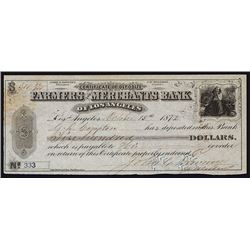Farmers and Merchants Bank of Los Angeles, 1872, With G.D. Compton & Downey Autographs.