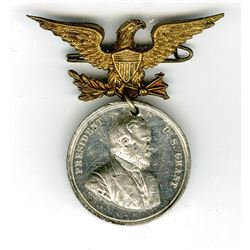 Republican Candidate for President, 1872 U.S. Grant Political Pin with Medal.