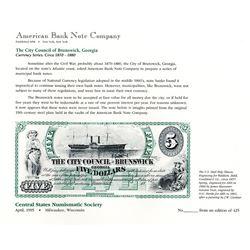 ABNC Uncut Card - ANA 1995 Milwaukee, WI, Uncut Card, $5, City Council of Brunswick Obsolete Banknot