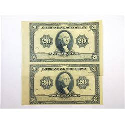 """American Bank Note Co., 1920 (ca.1960-70) Advertising """"Specimen Bank Note"""" Pair."""