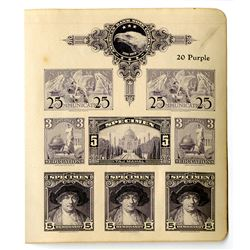 American Bank Note Color Sample Sheet ca. 1900-1920 with 8 Specimen Stamps & ABN LOGO.
