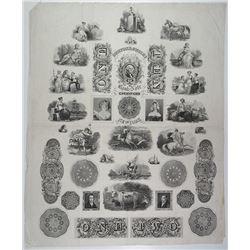 Burton & Gurley Bank Note Engravers Proof Advertising Vignette Sheet.