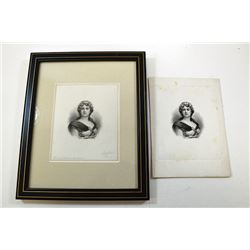 Lorenzo Hatch engraved and signed india paper proof nicely framed ca.1880-1890's.