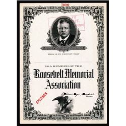 Theodore Roosevelt Memorial Association, ND (ca. 1910-20) Specimen Certificate.