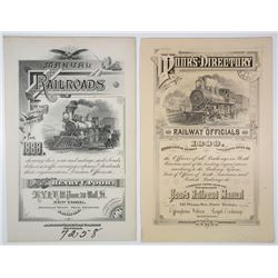 ABNC Intaglio Printed 1888 Interior Cover Pages from Poor's Railroad Manual.