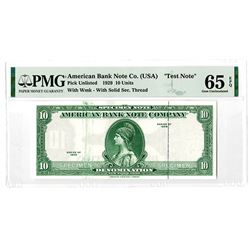 American Bank Note Co. 1929. Advertising Test Banknote.