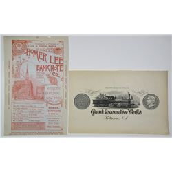 Homer Lee Bank Note Company Advertising Sheet, ca.1880-90's & ABN Printed Advertisement.